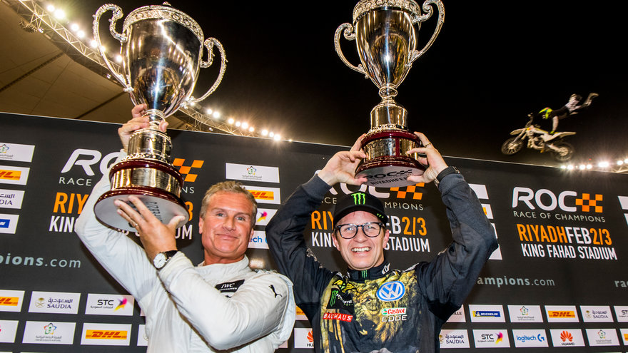 David Coulthard (GBR) celebrates his win with Petter Solberg (NOR) on the podium during the Race of Champions on Saturday 3 February 2018 at King Fahad Stadium, Riyadh, Saudi Arabia._572