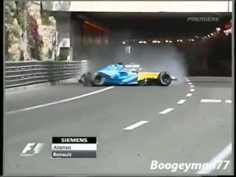Alonso bị trôi ra ngoài đường hầm Monaco 2004