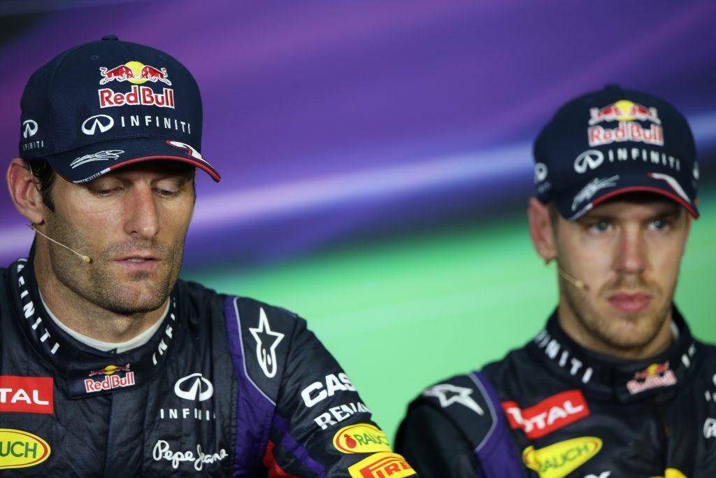 24.03.2013- Race, press conference; Mark Webber (AUS) Red Bull Racing RB9 and Sebastian Vettel (GER) Red Bull Racing RB9