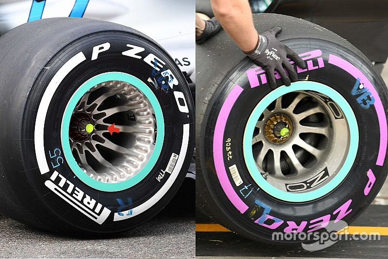 Mâm bánh xe mới của Mercedes (trái) và cũ (phải)
